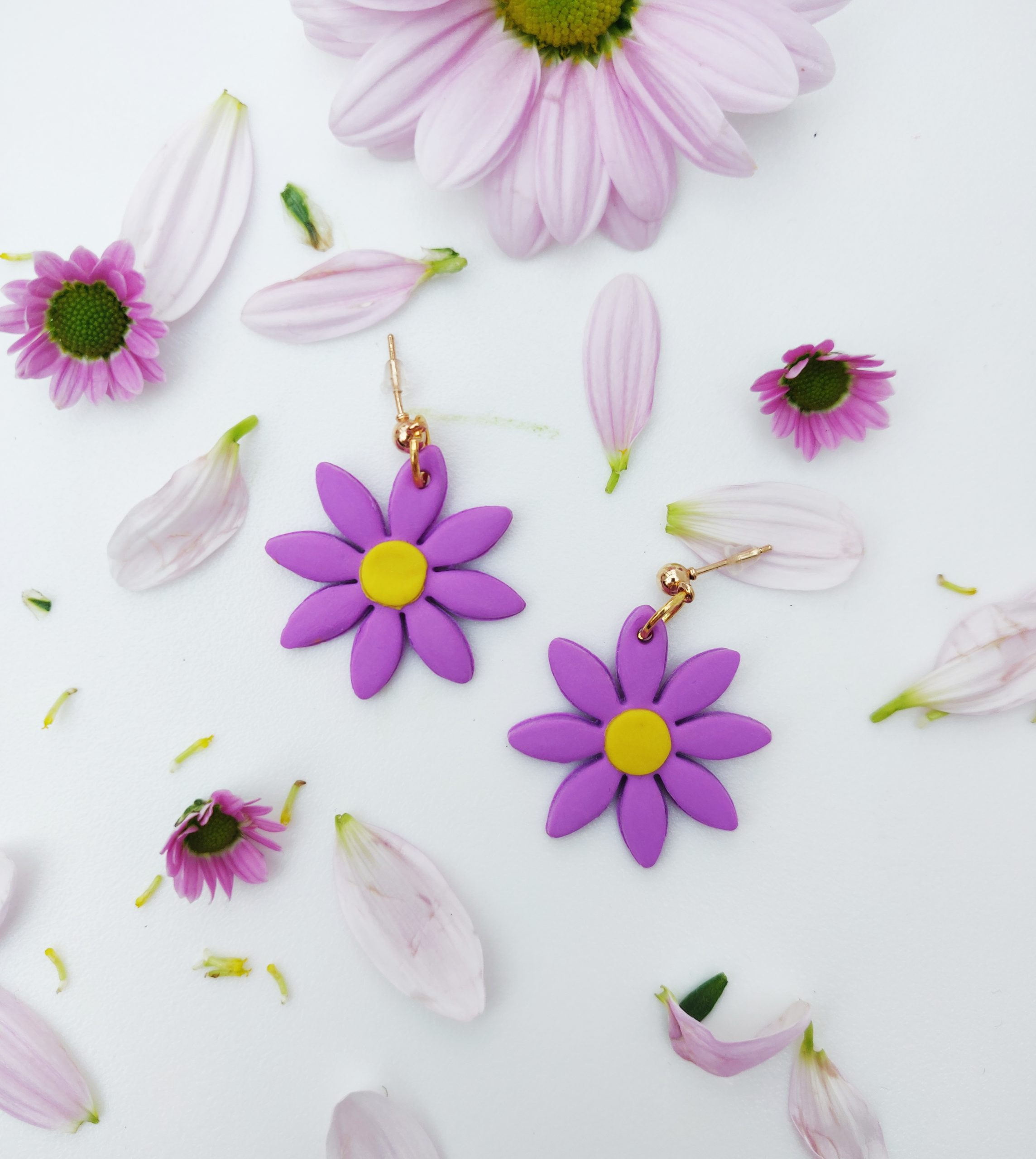 Lilac Aster Flower Earrings