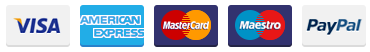 Payment accepted through Visa, American Express, MasterCard, Maestro and PayPal