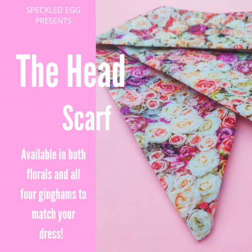 Custom Handmade Head Scarf available in Gingham and Floral Fabrics