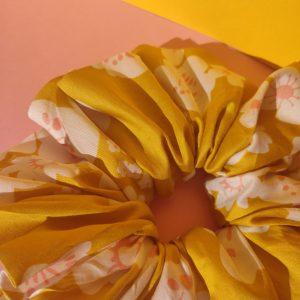 Handmade Mustard Floral Satin Hair Scrunchie