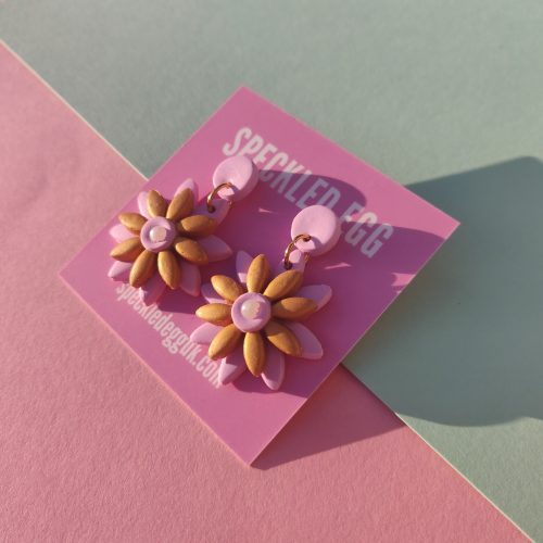 Handmade Daisy Deux Pink and Gold Earrings by Speckled Egg (Slow Fashion Maker)