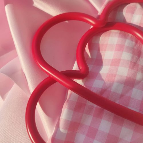 The Isla Bag in Peony Pink Gingham and Red Heart Handles